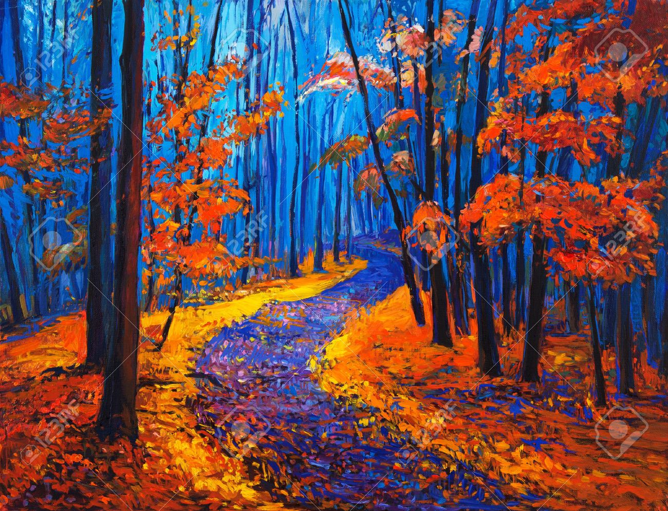 Pintura Al Oleo Original Mostrando Hermoso Bosque De Otono Sobre Lienzo Impresionismo Moderno Bosque Otono Pintura Al Oleo Cuadro De Otono