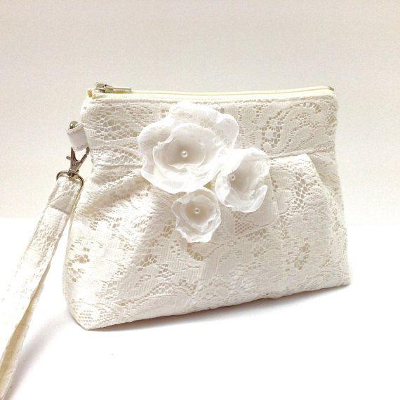 Wedding Clutch Purse Zippered Wristlet Ivory Cream By Lmcreation
