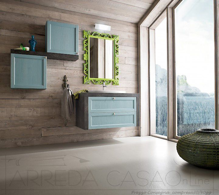 Mobile Bagno country lavabo incasso Diamante DM3 azzurro FOR SALE ...
