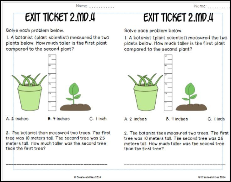 Estimating and Measure Lengths Math Tasks and Exit Tickets Math - Exit Ticket Template