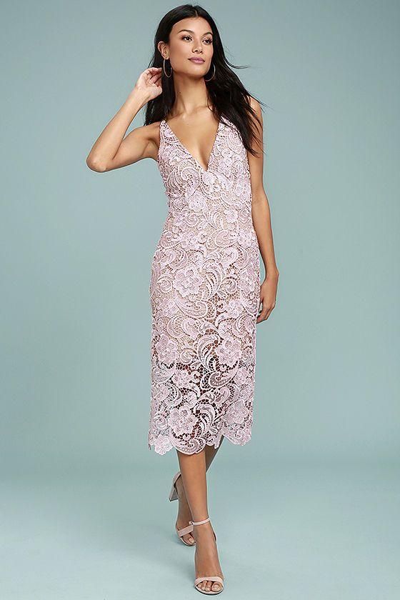 Dress The Population Marie Blush Pink Lace Midi Dress Dress