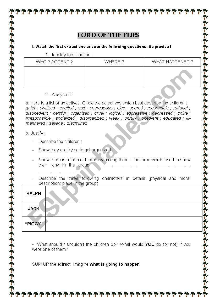 Activity sheet about the film Reading worksheets, Lord