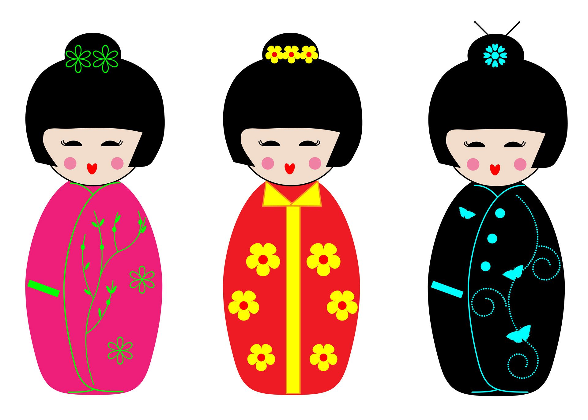 Kokeshi Dolls Clipart Free Stock Photo With Images Kokeshi