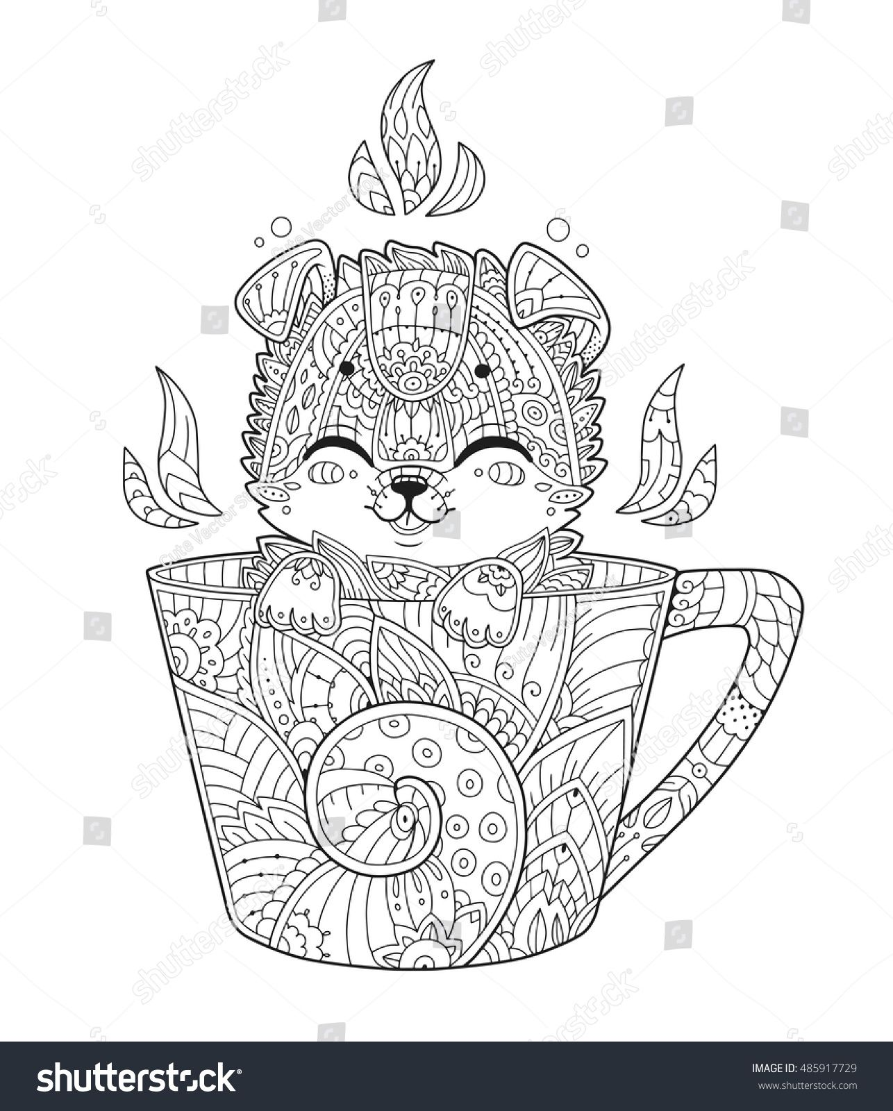 Puppy In Cup Adult Antistress Coloring Page With Dog In