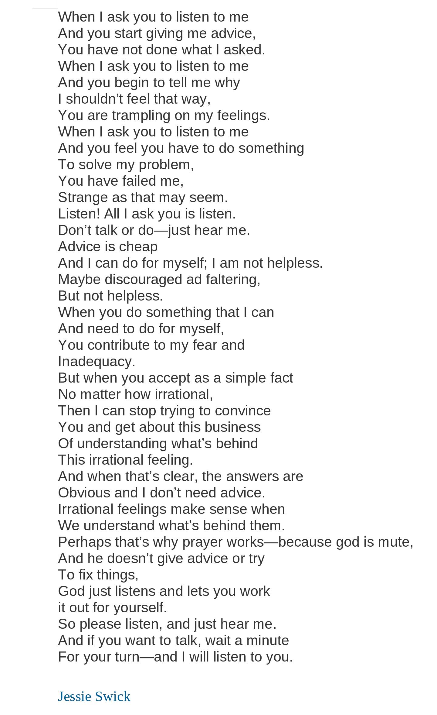 Please Just Listen Poem By Jessie Swick