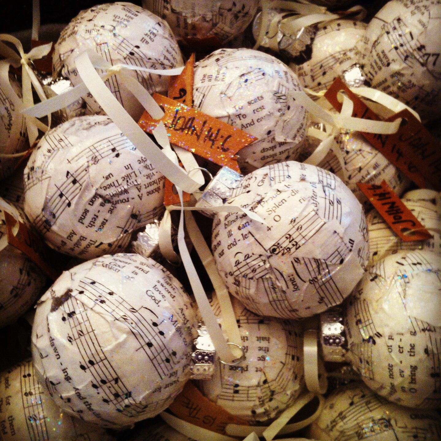 BELLA PATINA INTERIORS glass balls, old hymnal, Modge