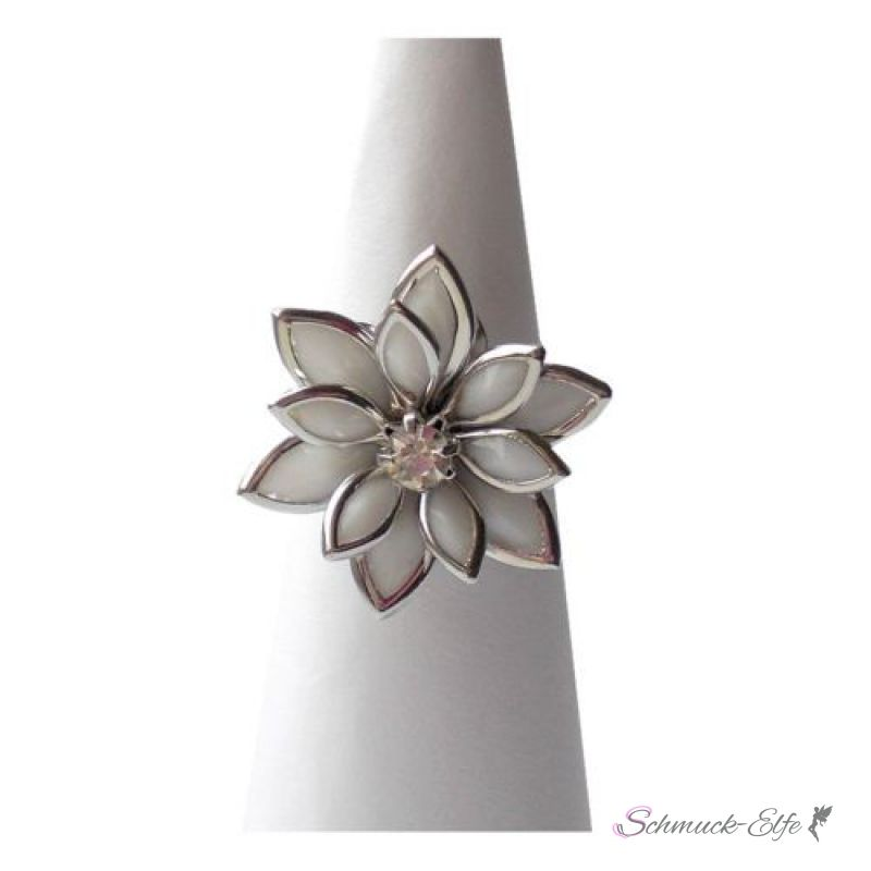 Ring Zirkonia Blüte mit  925 Silber versilbert
