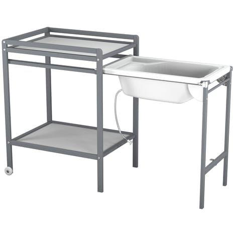 Table langer roulettes avec baignoire table langer - Table a langer en bois avec baignoire ...