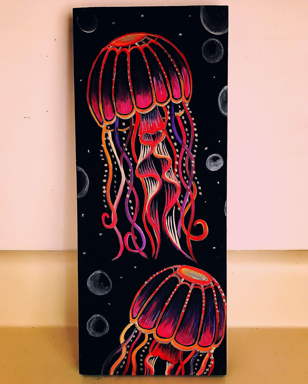 Pin By T A T I A N A On Acrylic Painting In 2020 Black Canvas Art Black Canvas Paintings Jellyfish Painting