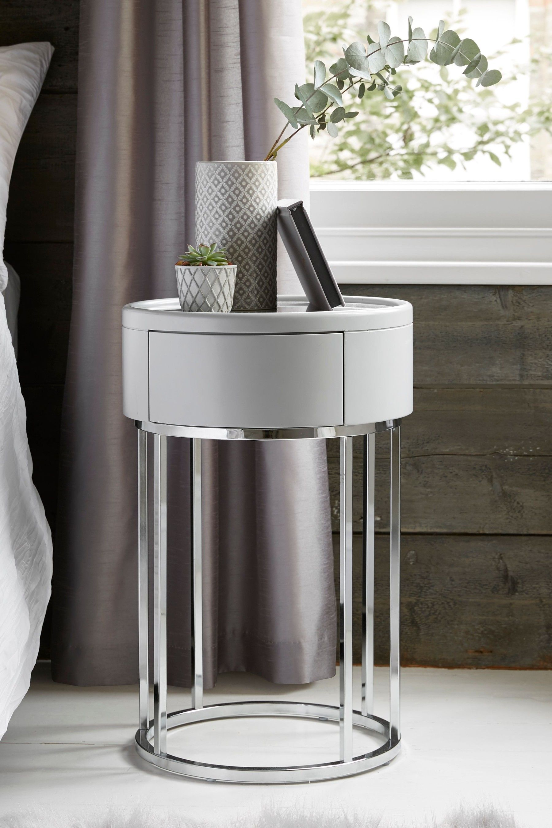 Grey Bedside Tables: Sloane Marble Round 1 Drawer Bedside Table In 2020