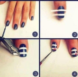Make Tape Part Of Your Nail Art But Cutting It To Fit Nail Art