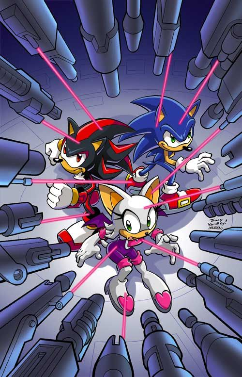 Raw Artwork To Archie Comics Sonic The Hedgehog 235 Cover Pencils Inks Terry Austin Colors Sonic And Shadow Sonic Hedgehog Art