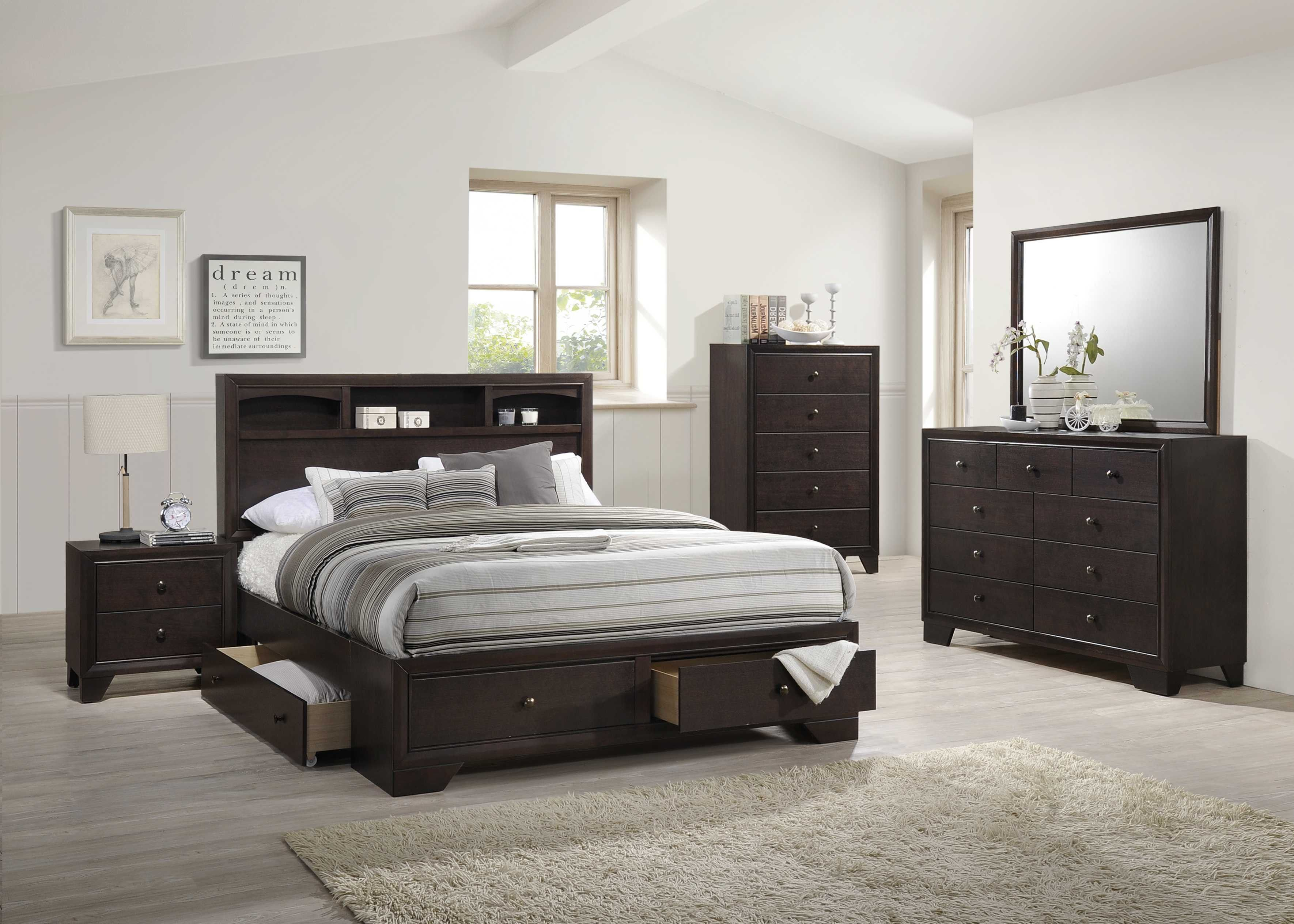 beds upholstered bed four queen storage with fabric underneath frame exclusive drawers