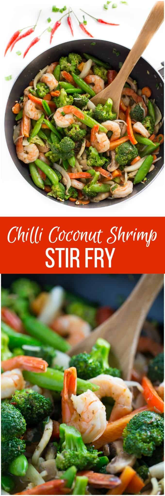 Chilli Coconut Shrimp Stir Fry #stirfryshrimp Chilli Coconut Shrimp Stir Fry - This stir fry recipe makes it easy to eat your veggies! Packed with shrimp, fresh veggies and a creamy, spicy Chilli Coconut sauce, each bite delights your taste buds and satisfies your hunger. #stirfryshrimp