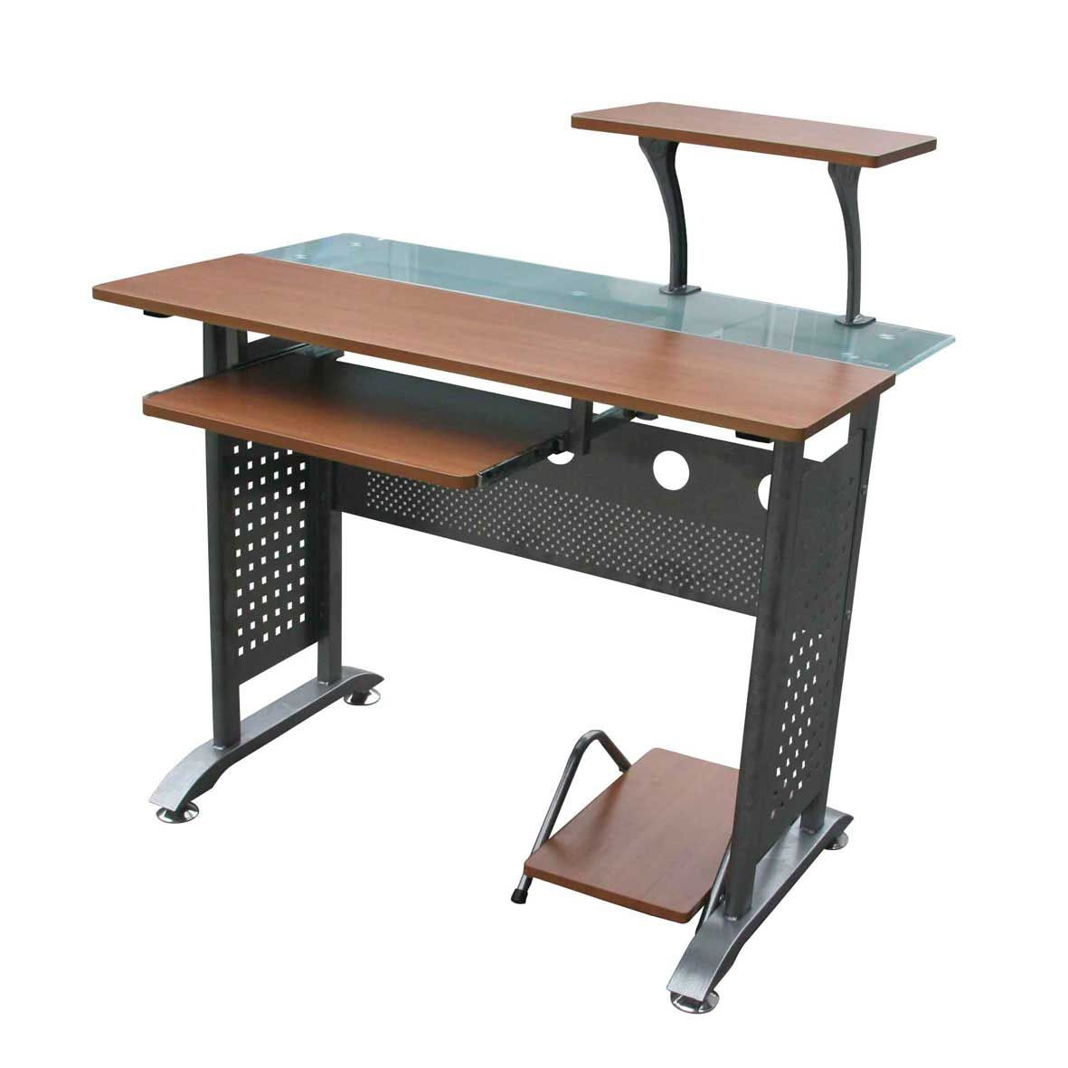 Glass And Wooden Computer Desks With Keyboard Tray Wooden