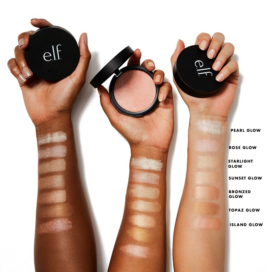 Pearl Glow Shimmer Highlighting Powder E L F Cosmetics Cruelty Free Cosmetics Best Selling Makeup Highlighter Swatches