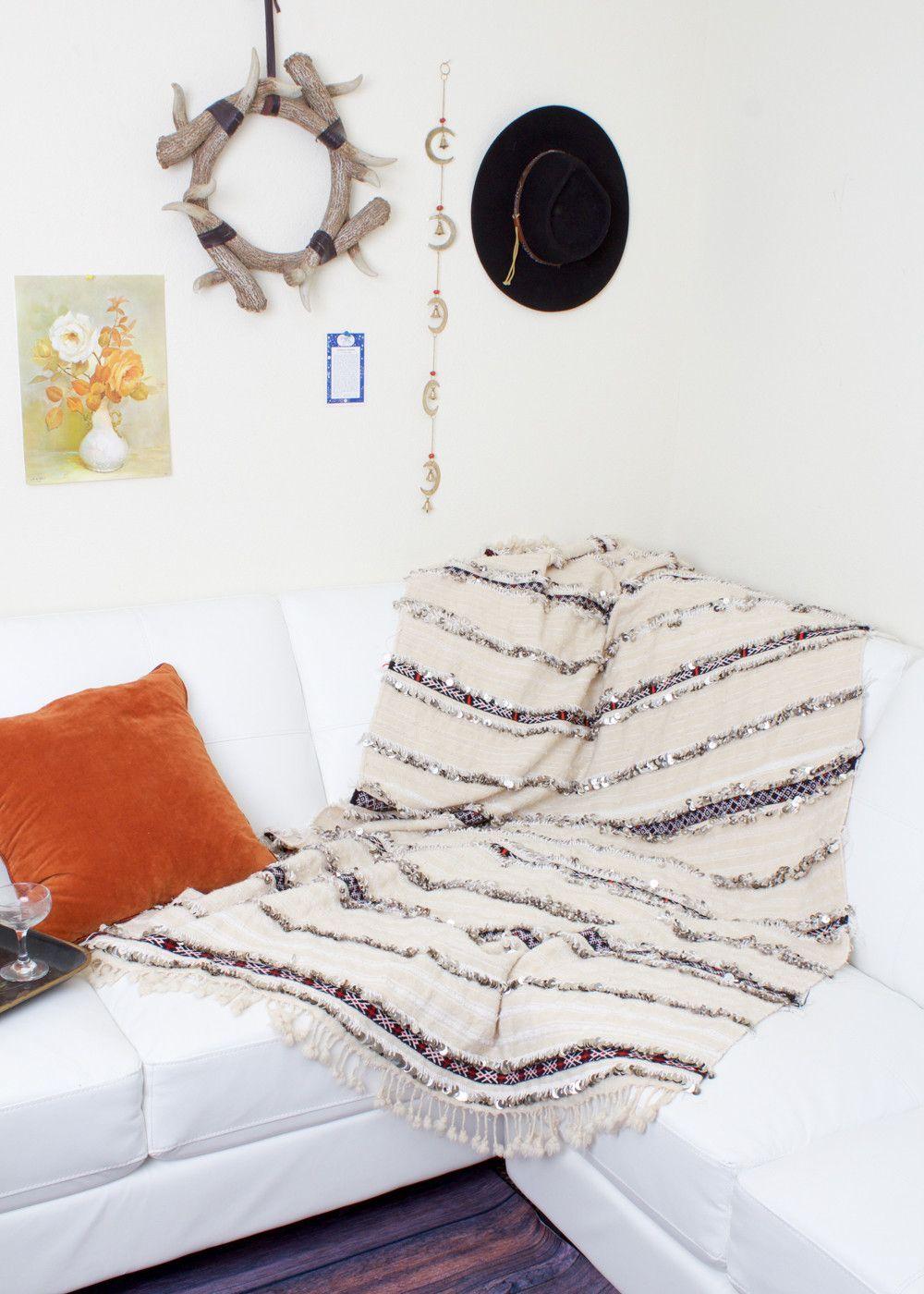 VINTAGE Moroccan Wedding Blanket Handira No. 9