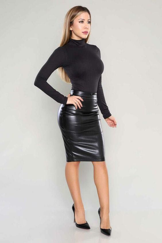 black bodycon mock turtleneck top and black leather pencil skirt