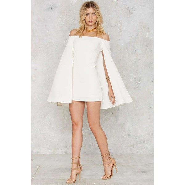 Nasty Gal Brushing Shoulders Cape Dress (95 CAD) via Polyvore featuring dresses, stretchy dresses, white dress, stretch dress, white stretchy dress and stretch white dress