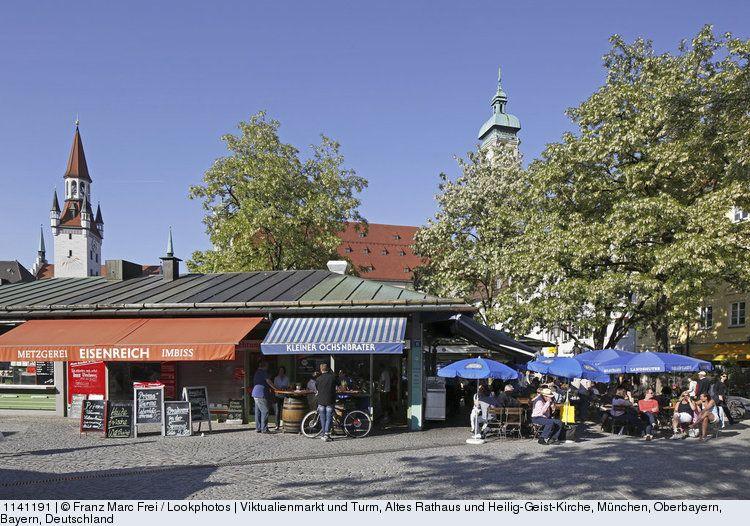 Viktualienmarkt And Steeples Of The Old City Hall And Heilig Geist Church Munich Upper Bavaria Bavaria Germany Munchen