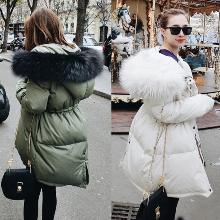 139daf122 Chic Women's Thicken Winter Warm Duck Down Real Fur Collar Hooded ...