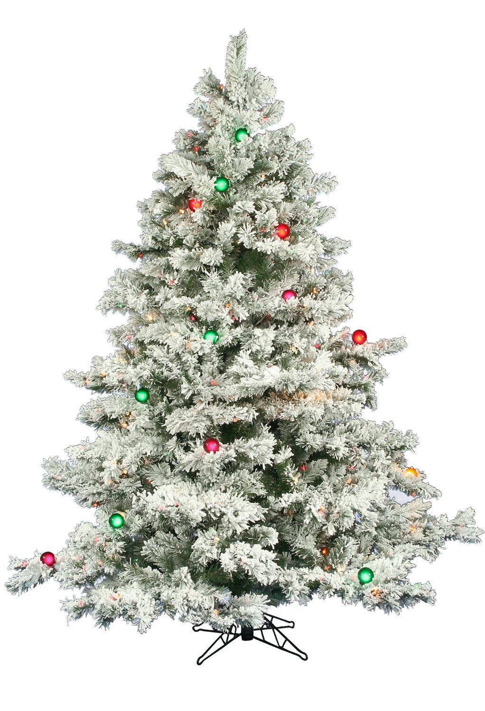 Christmas tree crush! 6.5 Foot Flocked Alaskan Christmas Tree With ...