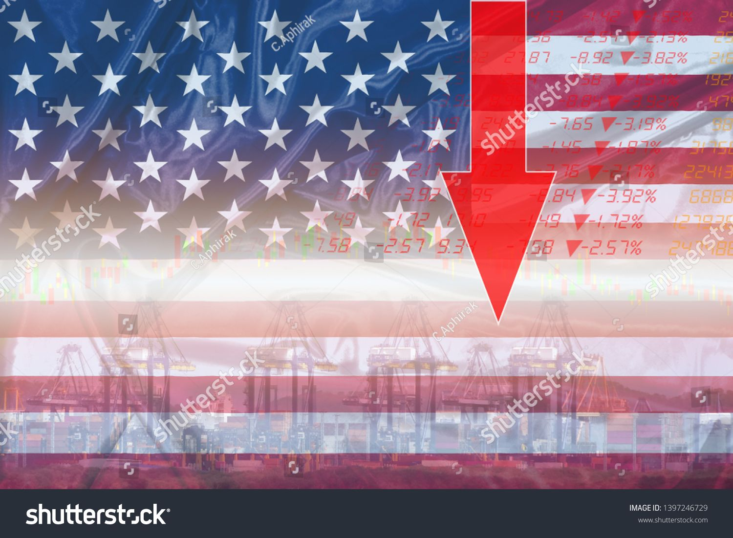 Stock Market In Usa Or America Falls Stock Exchange Analysis Indicator Trading Graph Chart Business Crisis Finan Import Business Finances Money Stock Exchange