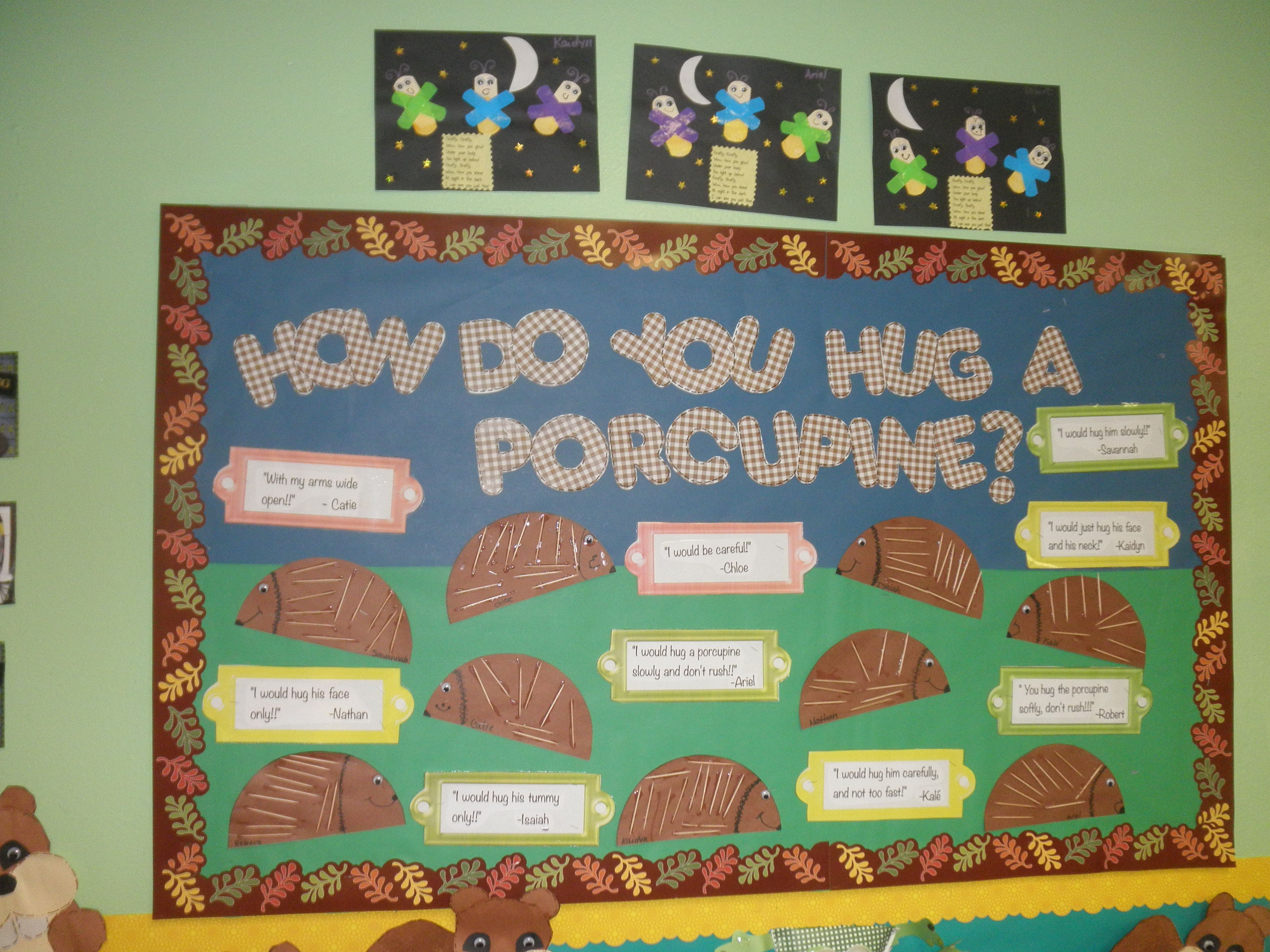 writing activity...how to hug a porcupine | Forest Preschool Theme ...
