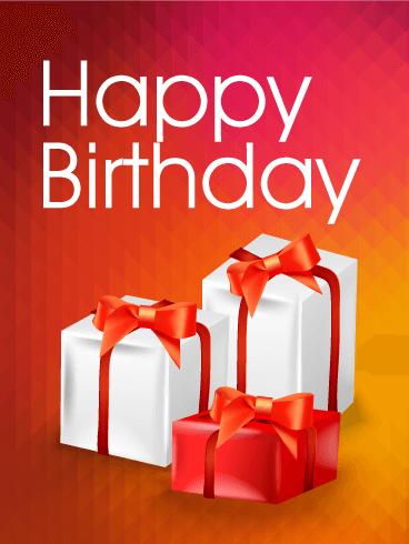 Three Birthday Gift Boxes ECard
