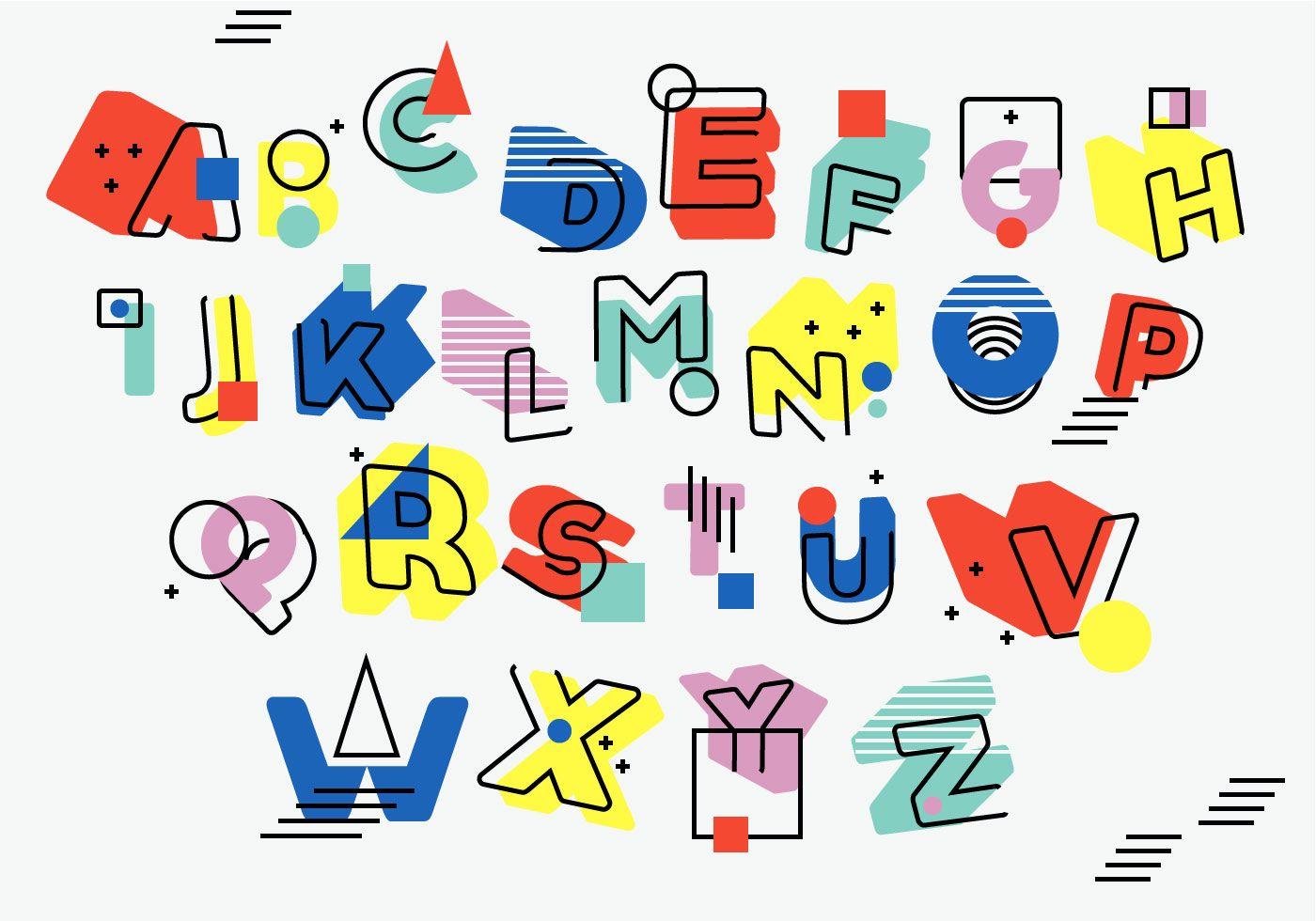 Vintage Retro 3D Asimetric Memphis Style Alphabet Vector Set #memphisdesign