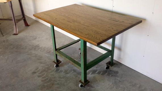 Vintage Industrial Steel U0026 Butcher Block Table $295