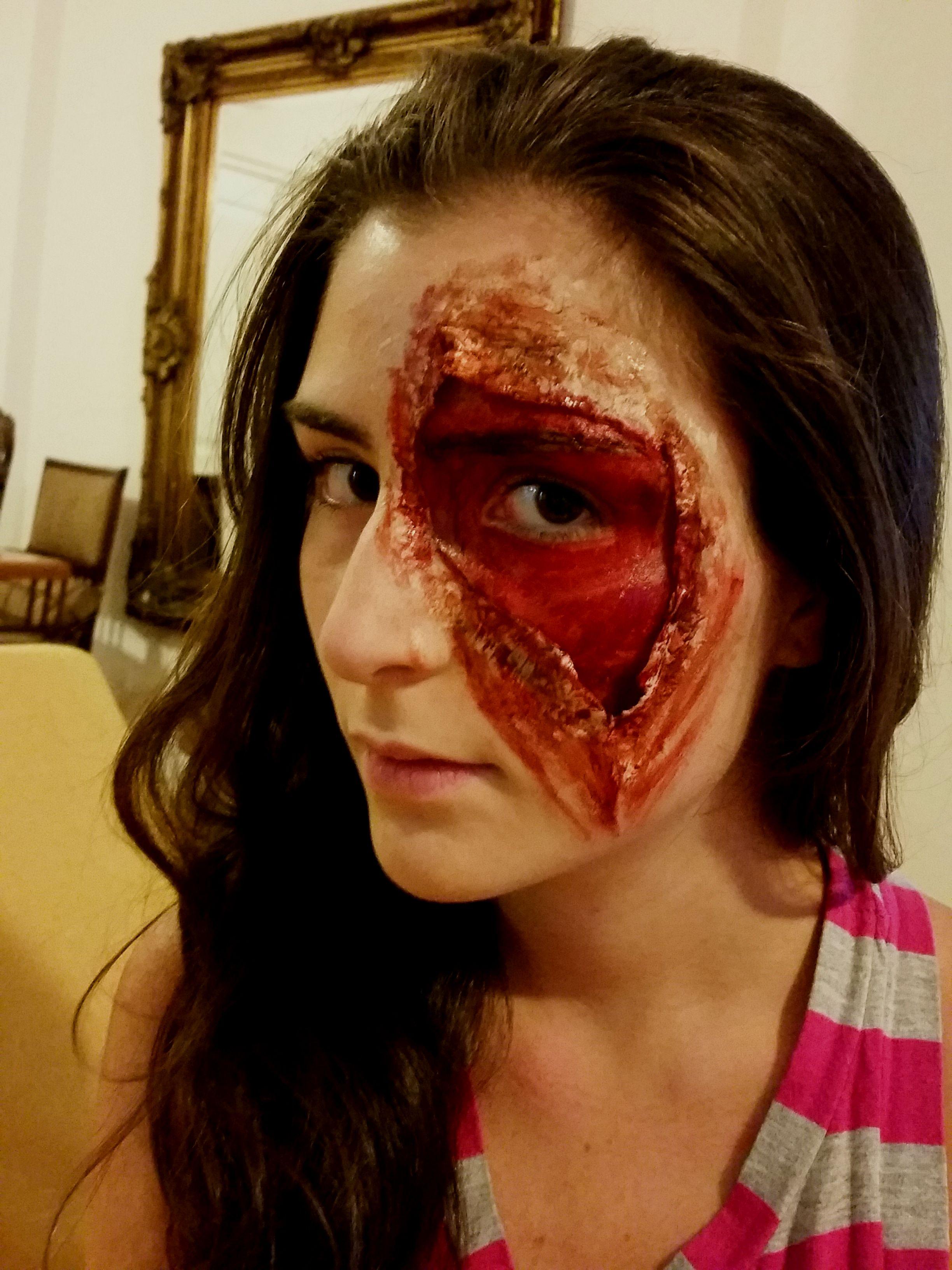Open face wound halloween makeup