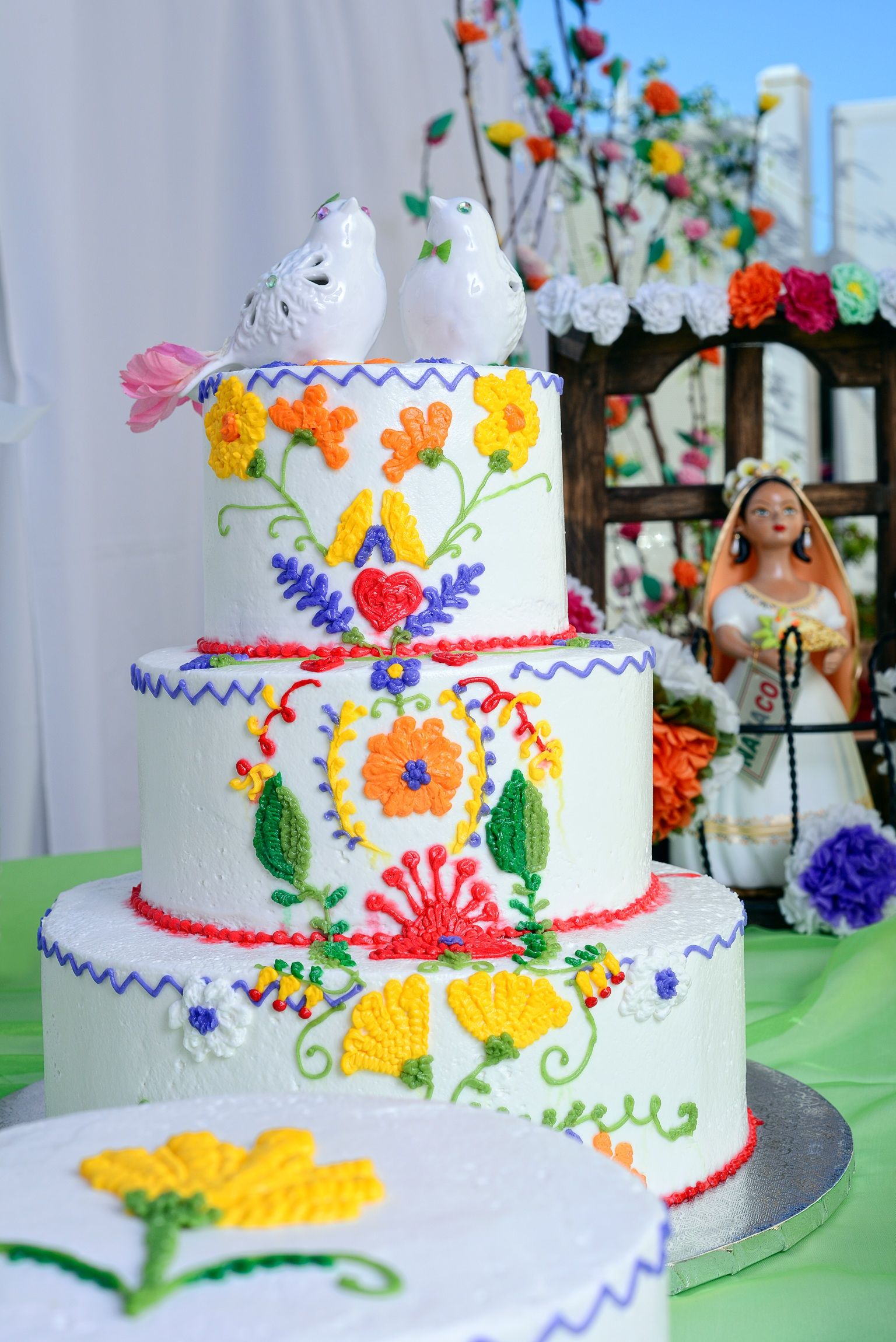 A Hispanic/Catholic wedding cake.