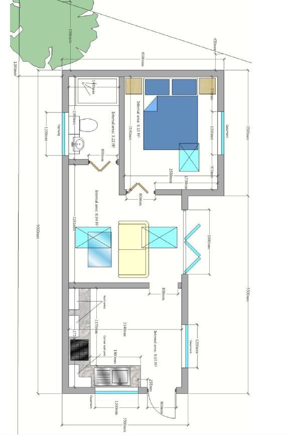 Granny Annexe Floor Plan With Bedroom Bathroom Kitchen And Lounge Area Www Grannyannexe Com Grannyannexe Granny Annexe Small House Plans Tiny House Plans