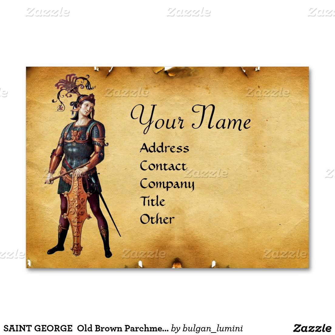 SAINT GEORGE Old Brown Parchment Monogram Large Business Cards ...