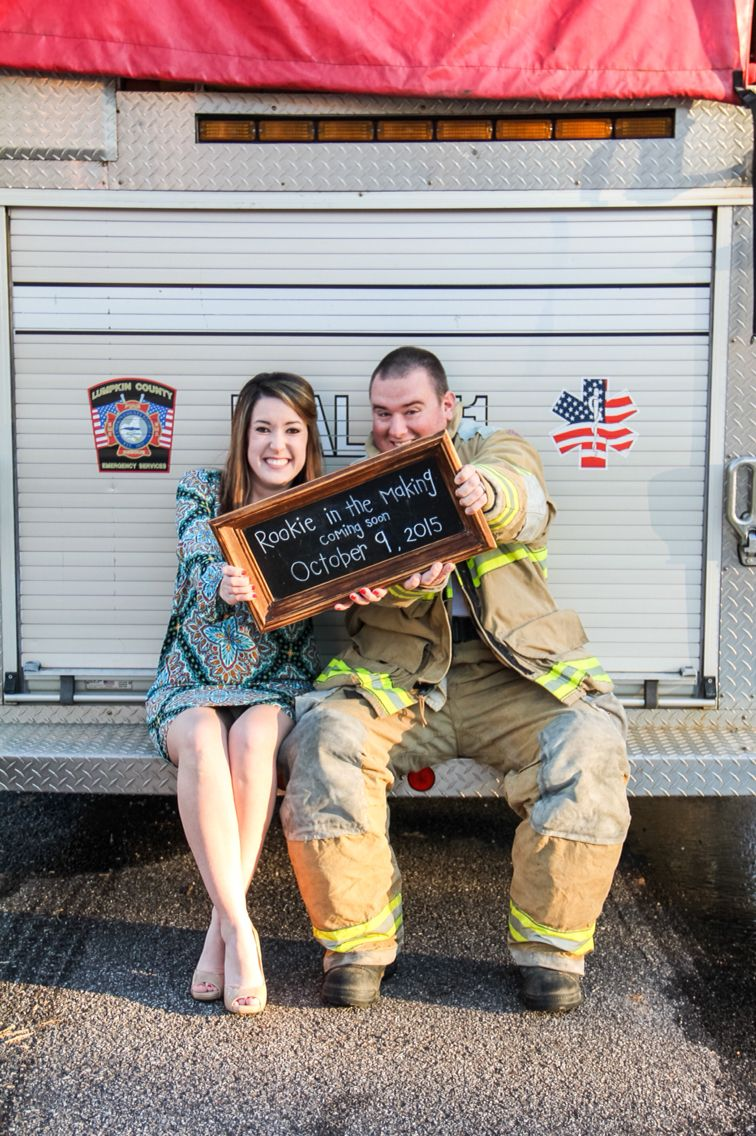 Firefighter Pregnancy Announcement Pictures baby firefighter – Baby Announcements Pinterest