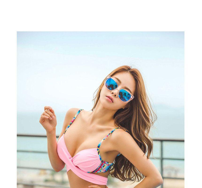 Cross-Front Patterned Bikini - ERANZI | YESSTYLE