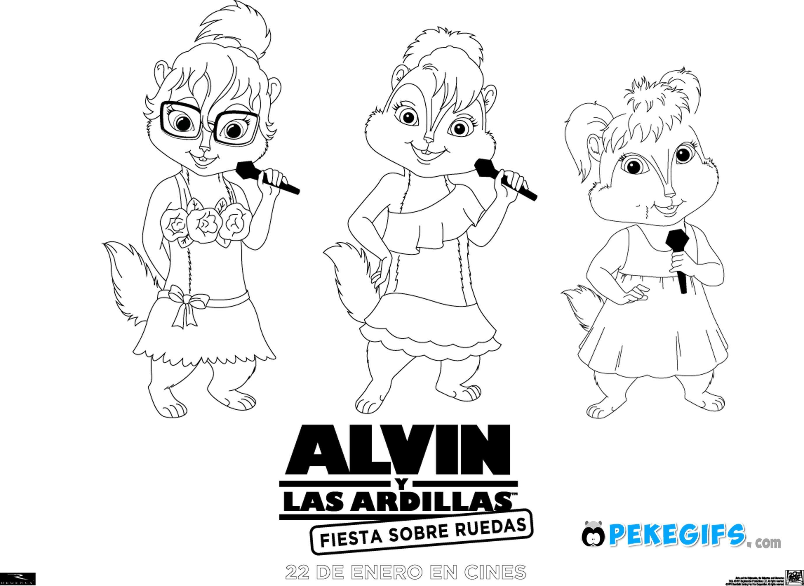 Dibujo Colorear Alvin Y Las Ardillas Fiesta Sobre Ruedas Dibujo 2