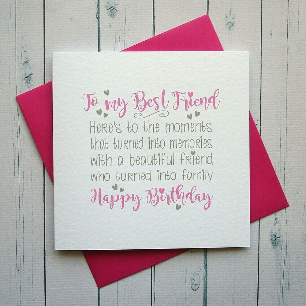 Birthday card best friend card bestie friend handmade