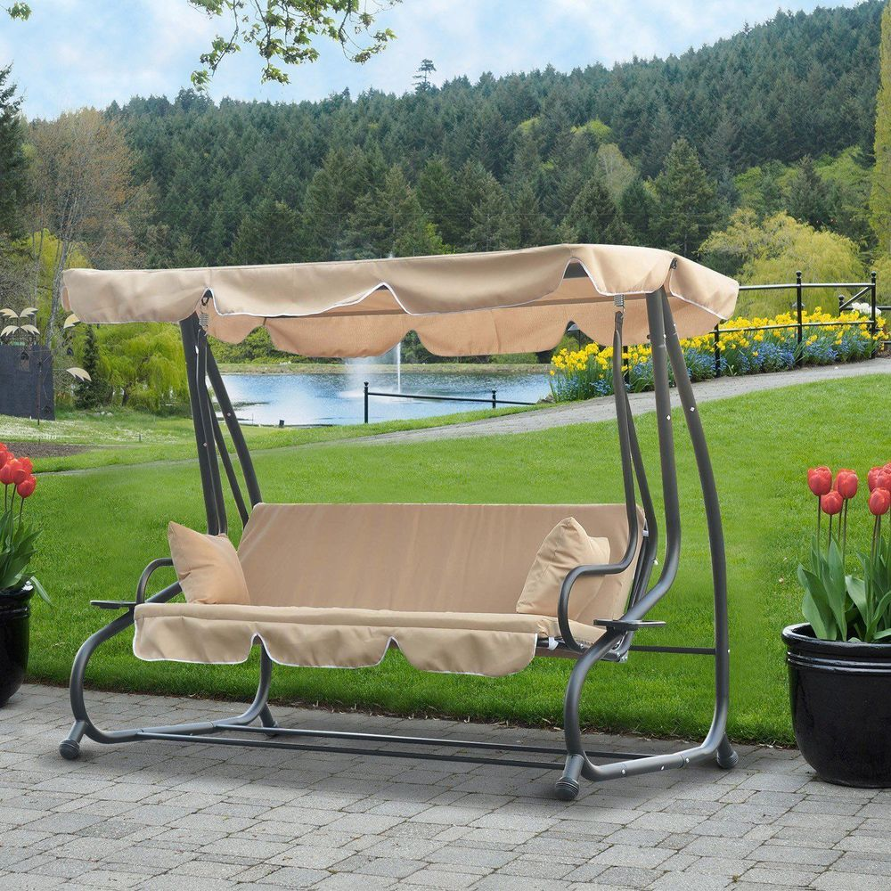 seater outdoor porch swing canopy sand brown colour steel frame