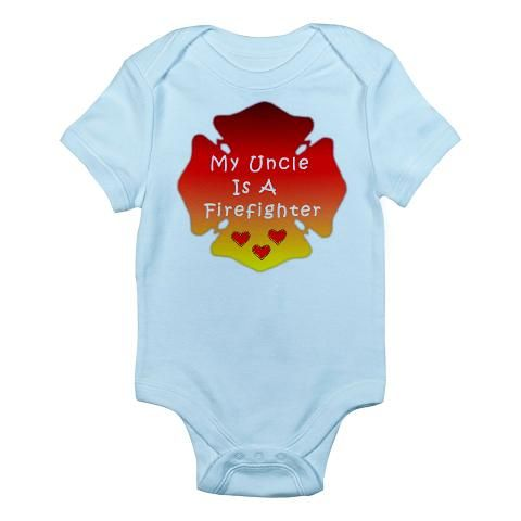 My uncle is a firefighter infant bodysuit firefighter kids and new my mommy is a firefighter personalized fire gift on custom personalized baby gifts proud firefighter family items valentine hearts personalized for negle Images