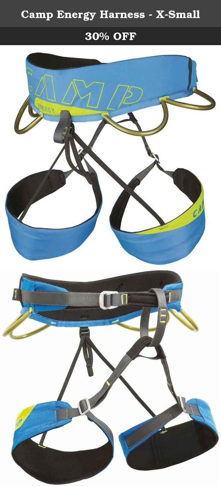 Camp Energy Harness - X-Small. A lightweight and comfortable harness designed for rock climbing at every level. The versatile design of the Energy makes it a great choice for any kind of climbing from gym to sport to trad. The thermo-formed padding molds to the body for exceptional comfort and a profiled fit. The leg loops feature sliding buckles that make them adjustable but not openable. By blending the benefits of fixed and adjustable construction, the leg loops on the Energy are at…