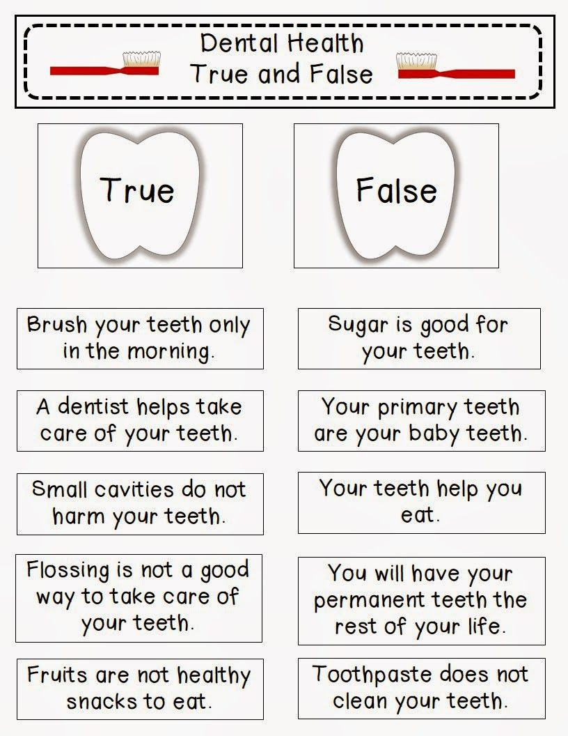 True And False With Images Dental Health Activities Dental