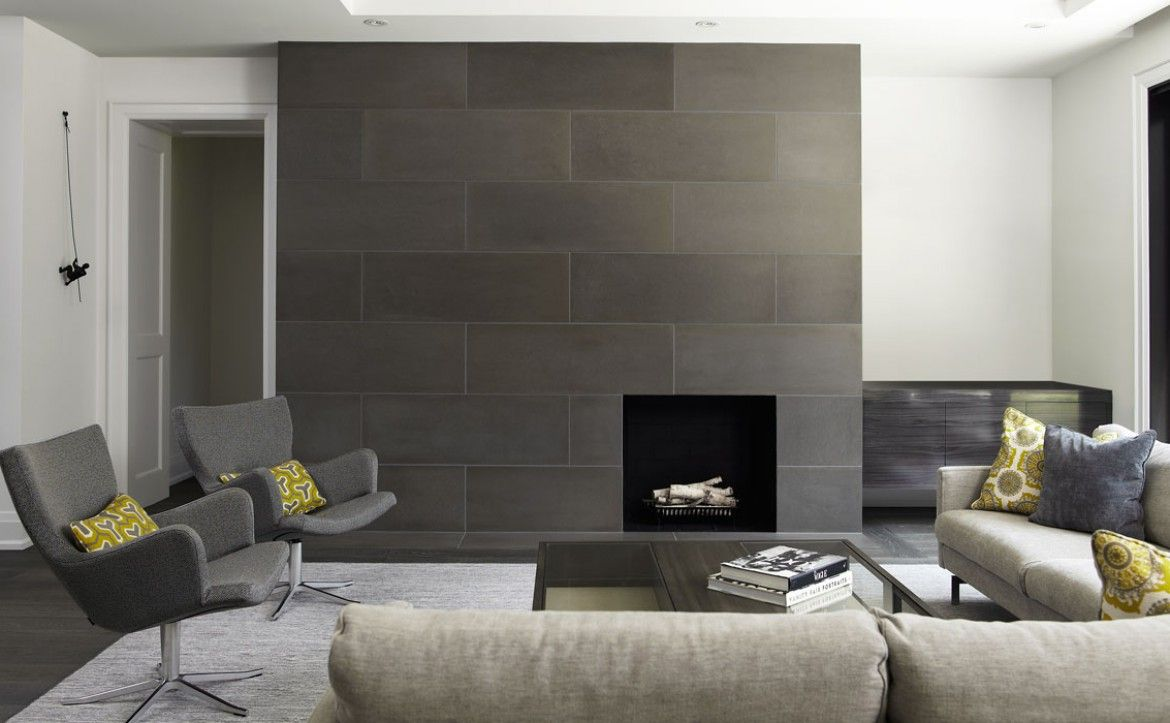 Exceptional modern fireplace tile 12 modern tile around for Wall tiles designs for living room