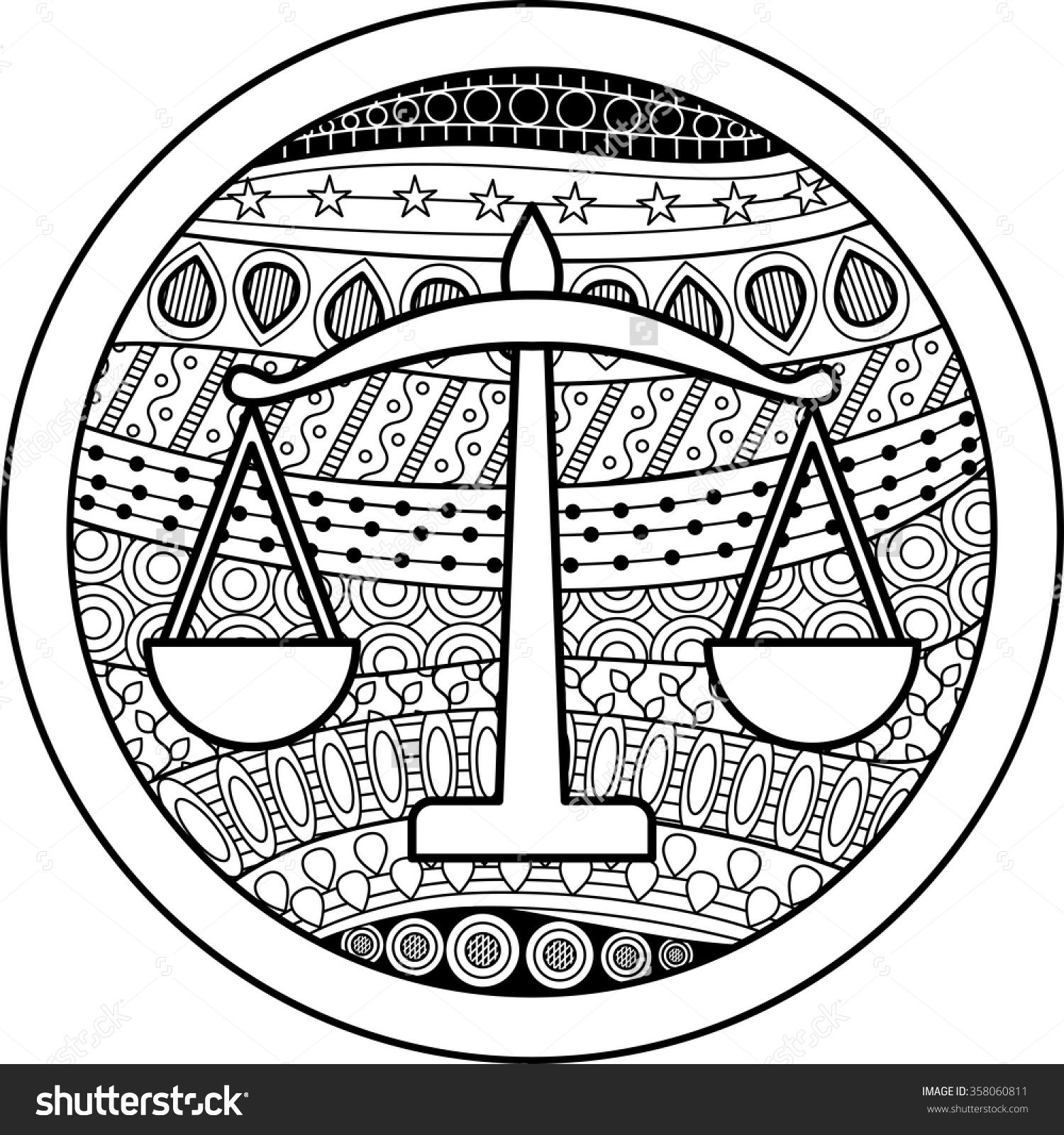 Coloring Page With Pattern And Zodiac Sign Libra In Zentangle Style