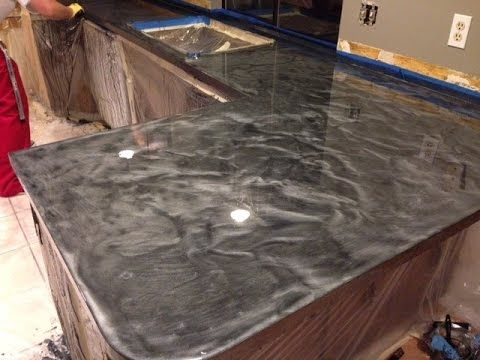 Countertop Resurfacing With Metallic Epoxy Silver And Charcoal