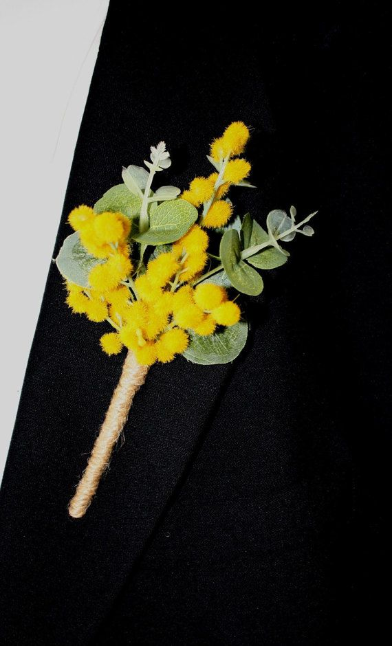 Buttonhole Golden Wattle for Groom Australian Native Buttonholes Aussie Wedding