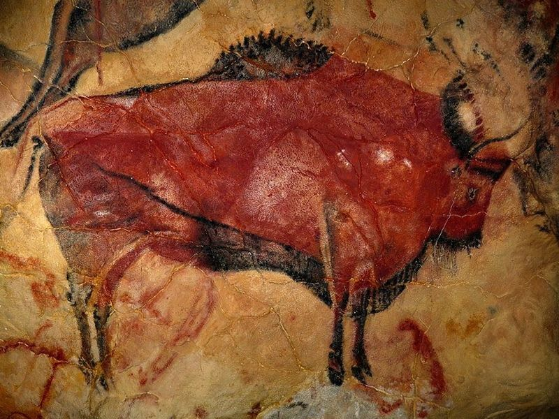 One of the painted bison in the Stone Age cave of Altamira.