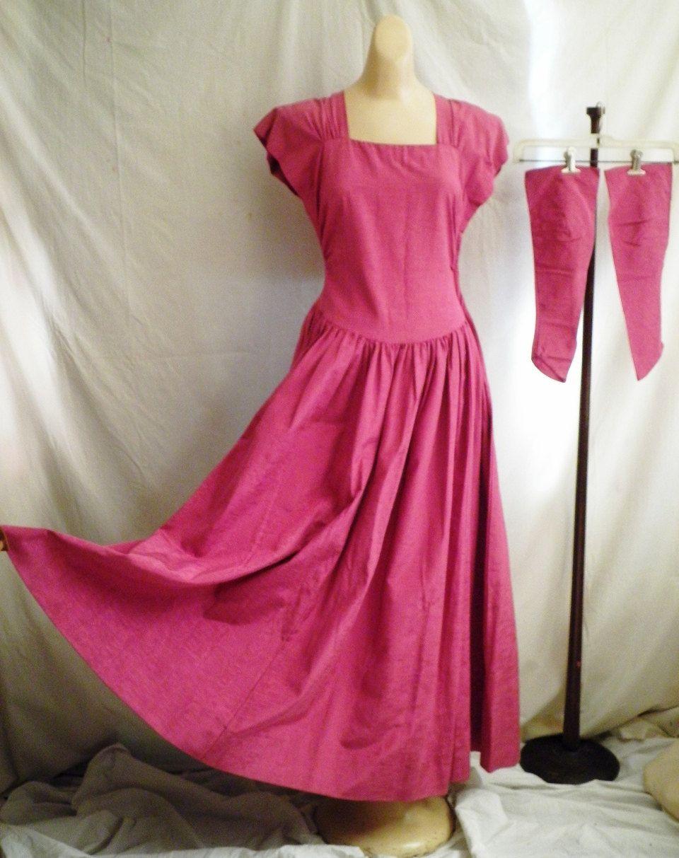 Vintage 1940\'s Formal Raspberry Moire Long Dress Prom Dress Full ...