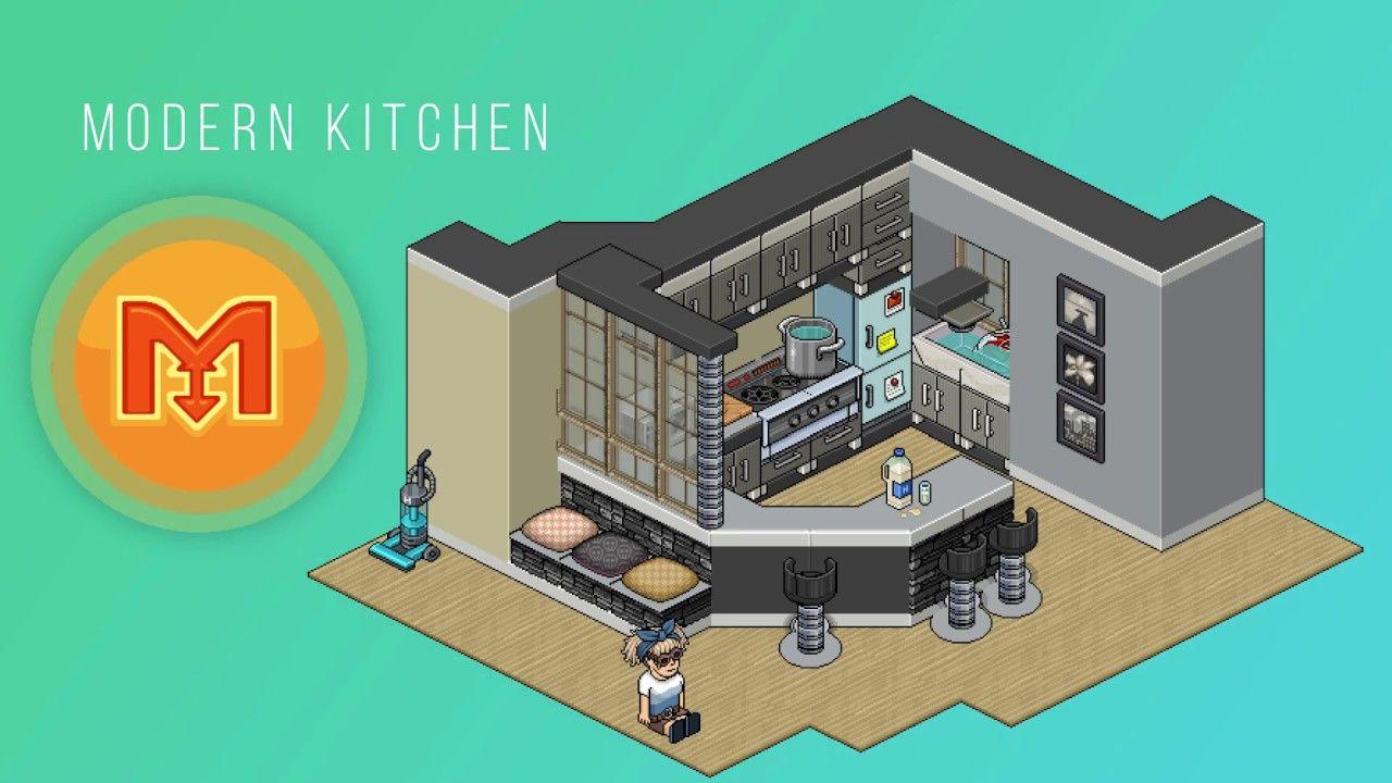 How to build a habbo modern kitchen tutorial habbo for Casa moderna habbo